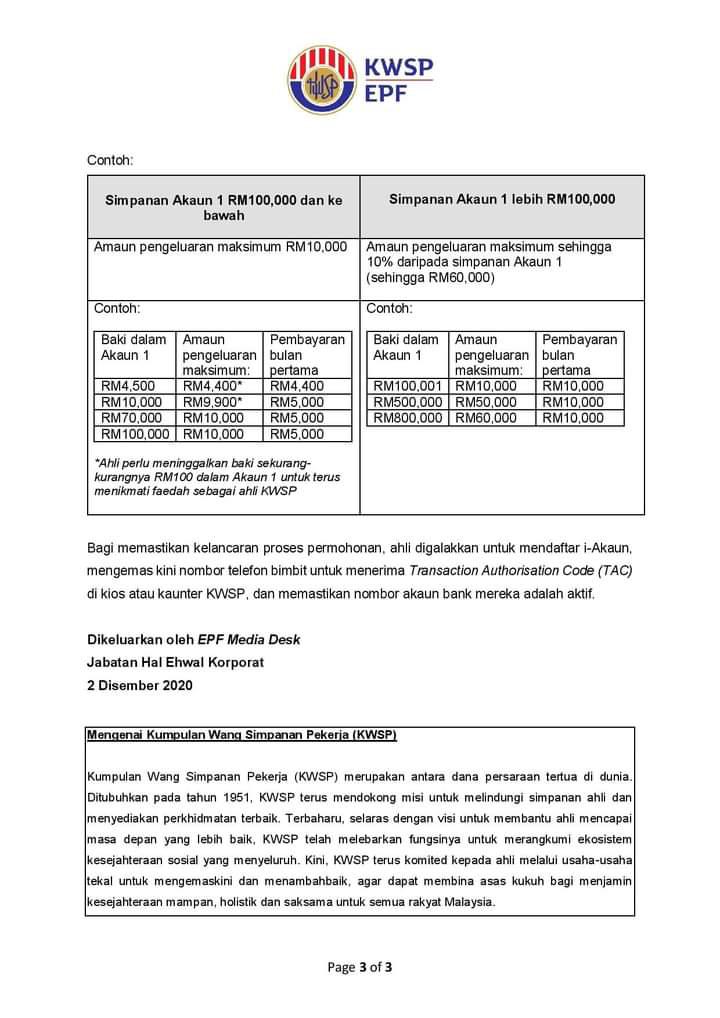 (Kemaskini) Perincian lengkap skim i - Sinar  pengeluaran akaun 1, KWSP sehingga RM60,000