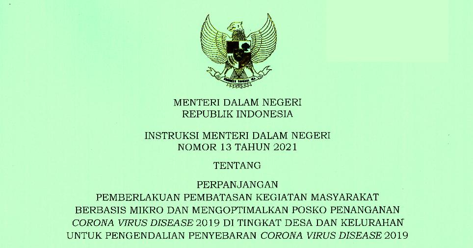 Instruksi Menteri Dalam Negeri Nomor 13 Tahun 2021 - Instruksi Mendagri Nomor 13 Tahun 2021