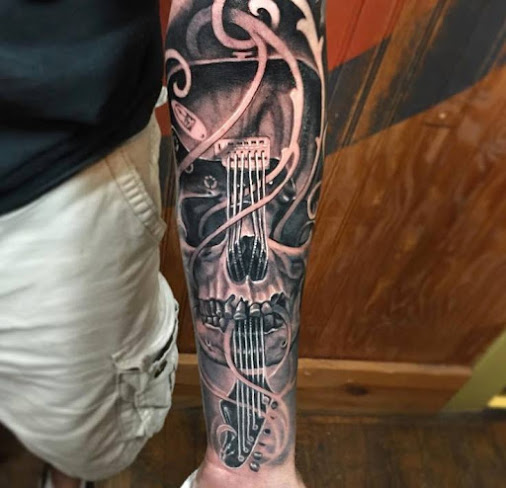 #Sleevetattoo   #Armtattoo   #Guitartattoo   #Skulltattoo   #3dtattoo   #Tattoo   #Filigree   By Truth...