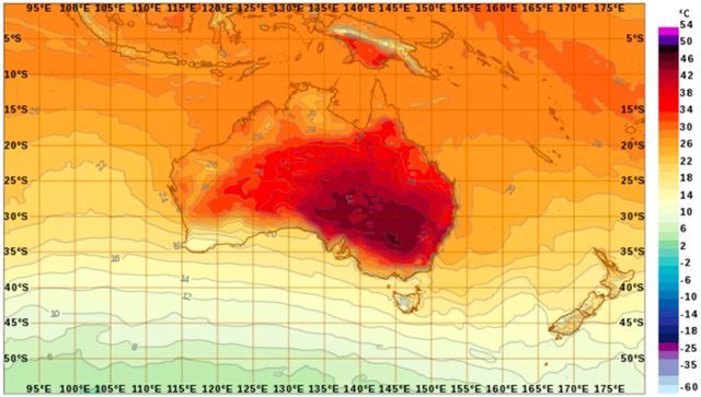 Record temperatures in Australia on 9 February 2017. Scale at right is shown in Celsius. The darkest red ranges from 38 to 46 degrees C, or 100 to 116 degrees F. Graphic: Australia Bureau of Meteorology