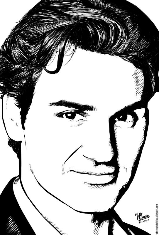 Ink drawing of Roger Federer, using Krita 2.4.