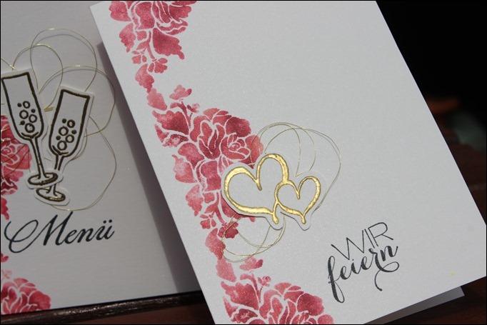 Florale Grüße Stampin Up Hochzeit Einladung Menükarte Platzkarte Pink Rosa Gold Schimmer 01