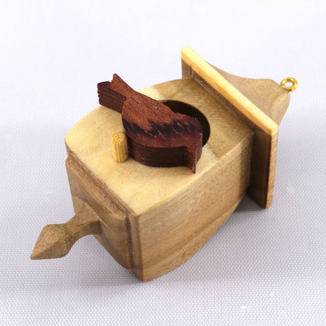Handmade Wood Miniature Birdhouse Christmas Tree Ornament