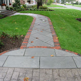 Drylaid brick and bluestone walk