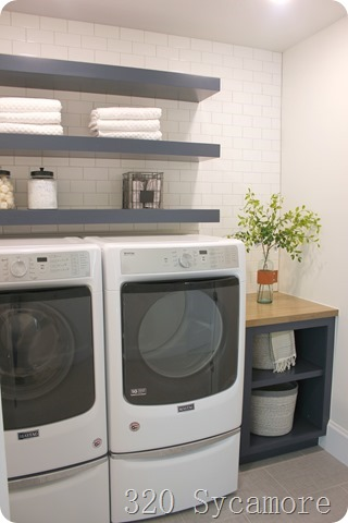 floating shelves laundry room