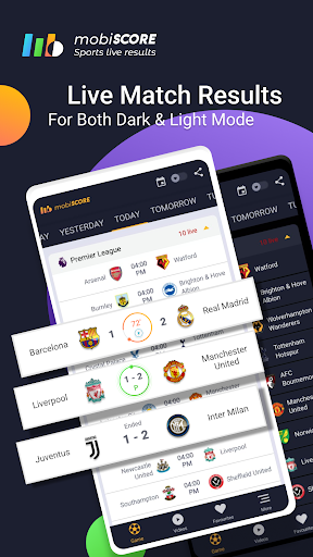 mobiSCORE | Live Scores, Goals Highlights Fixtures Apk 1