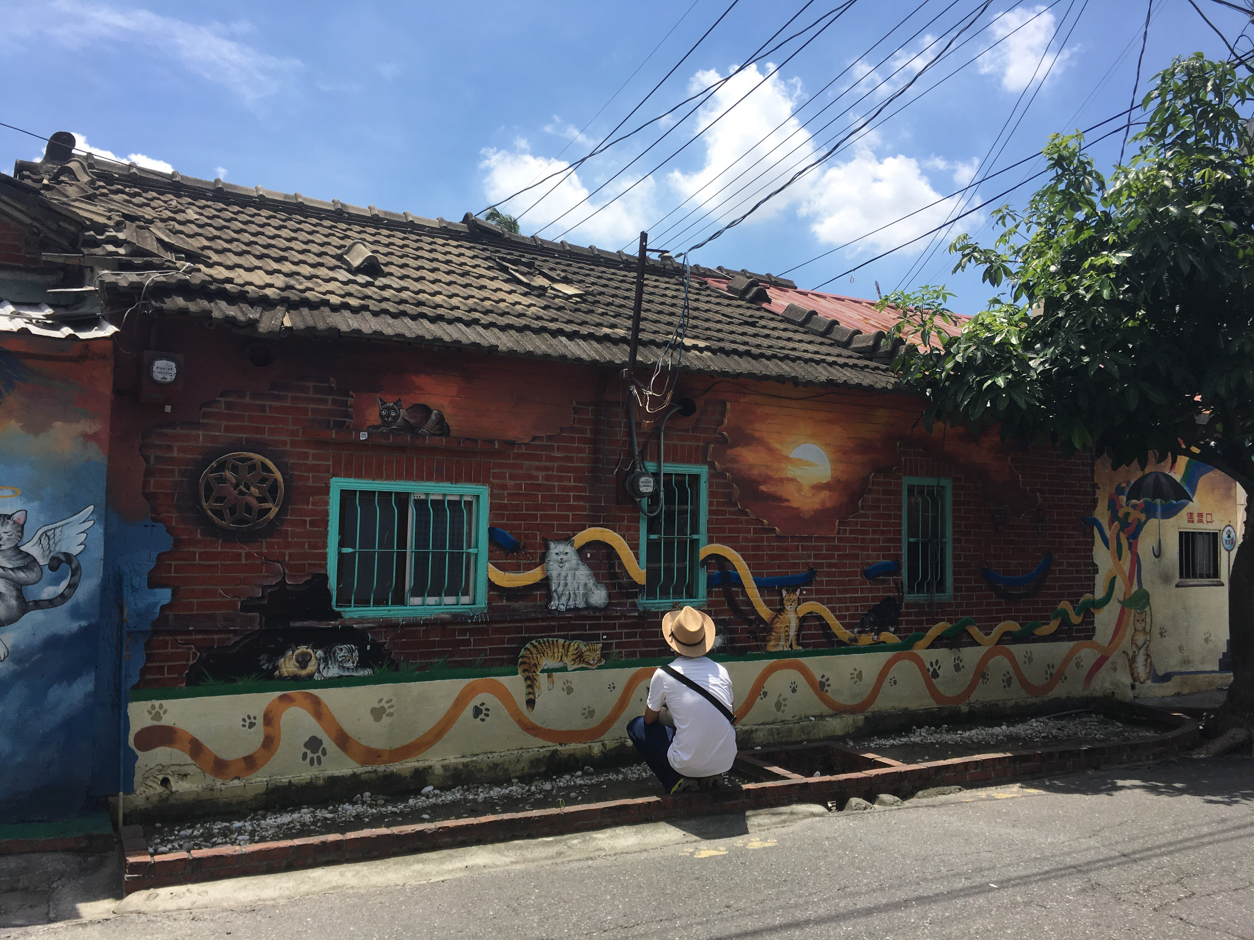 cats on the roof huwei yunlin taiwan painted village