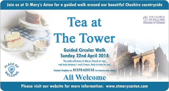 Tea at the Tower guided circular  walk - Sunday 22nd April 2018