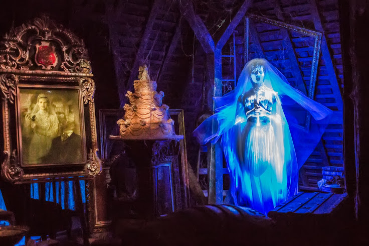 Constance Hatchaway floats in the attic in the Haunted Mansion.