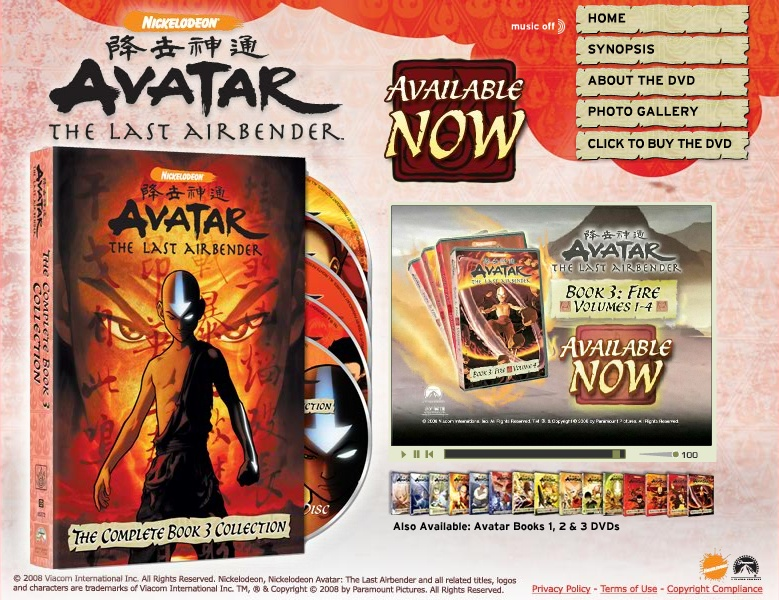 Avatar on DVD Site Nickelodeon