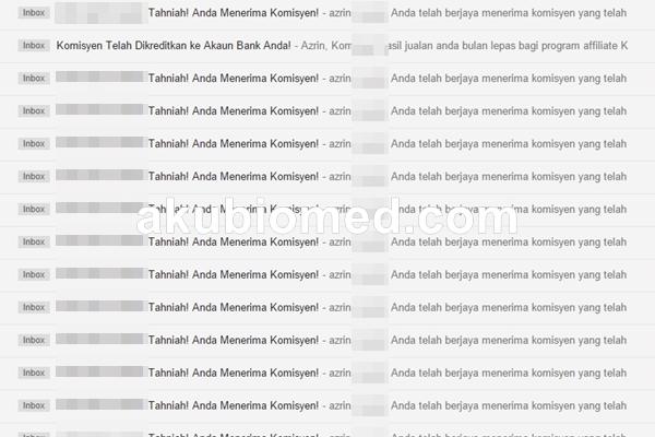 komisen melalui langganan pemasaran email