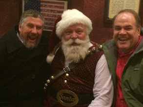 """Photo: 12/22 - Met the Averys at Heap's of Pizza (more properly, """"Brick Oven Pizza"""" in Provo). And Santa. A really good-looking Santa. Looks like Edmund Gwynne in """"Miracle on 34th Street.""""  And you have to admire that belt buckle."""