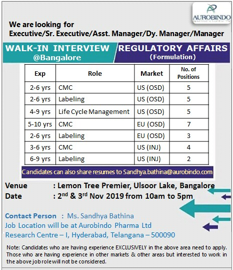 AUROBINDO PHARMA – Walk-In Interviews for Multiple Positions on 2nd & 3rd Nov' 2019