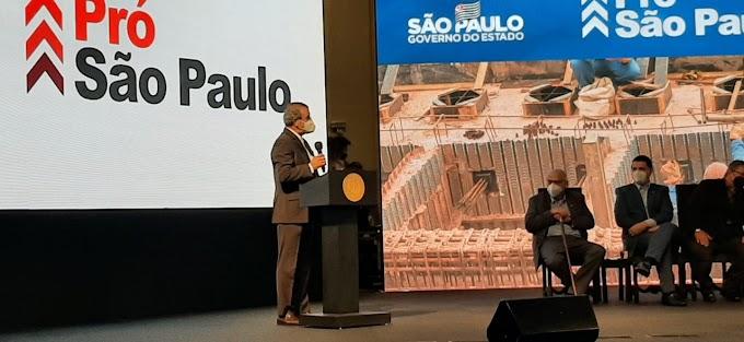 Dilador discursa em nome de todos os prefeitos no lançamento do Pró SP