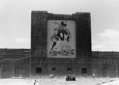drive-in theater with Tahoma painting, at Tesuque New Mexico. courtesy of Roberta Anglen