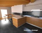 progetto di cucina  Valcucine in provincia di Bergamo, pavimento in ferro trattato, soffitto a mansarda -1.jpg