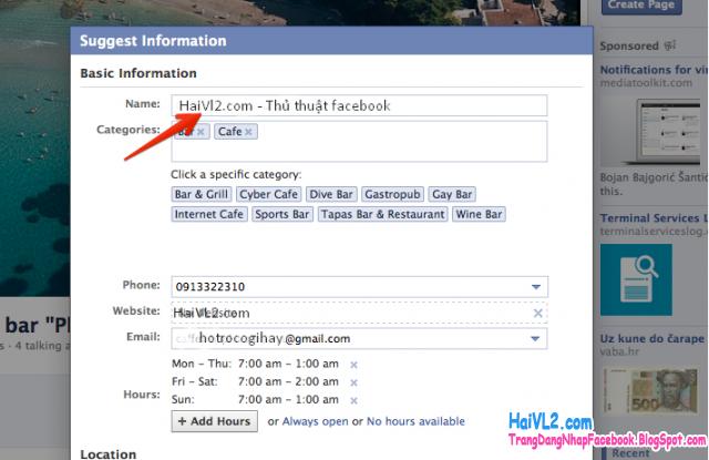 facebook gợi ý đổi tên fanpage cho bạn