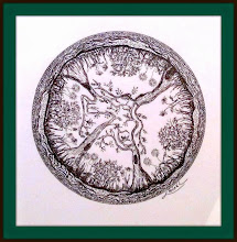 Photo: 016 EMERGING FROM THE CORE Luba Bilash original ~ ink matted & framed SOLD