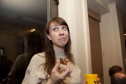 Jen takes a break from the mac to enjoy a brownie