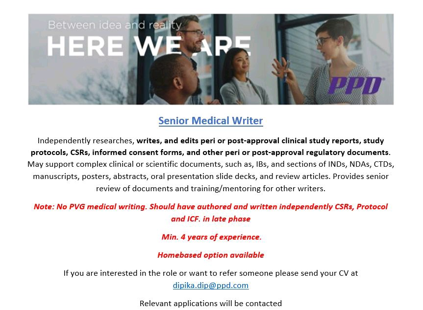 Work From Home Opportunity For Medical Writing At PPD