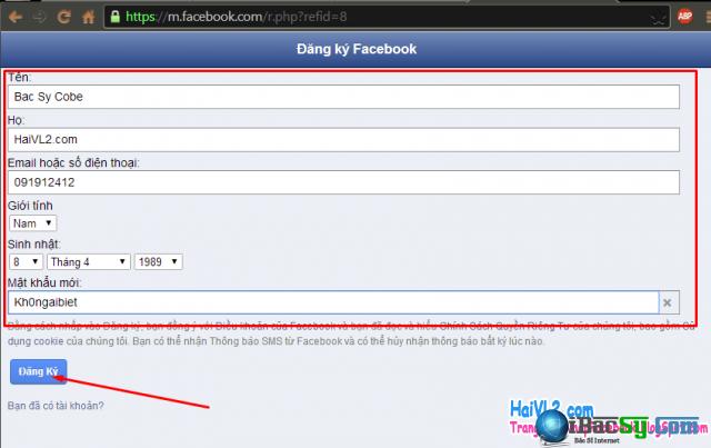 Hình 4 - Hướng dẫn đăng ký Facebook bằng số điện thoại