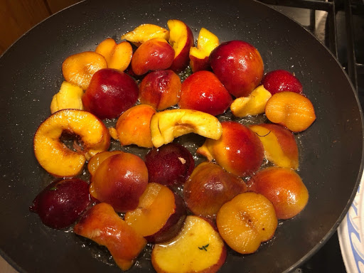 Peaches and plums fried in duck fat