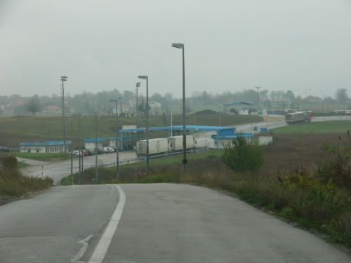 Driving     from     Croatia into Bosnia at the border     checkpoint.