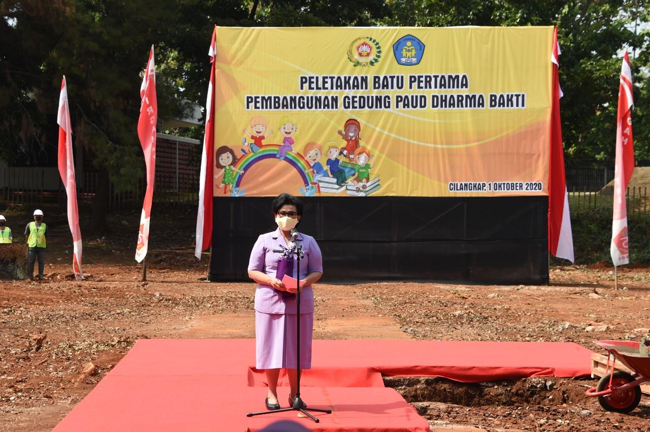Ketum Dharma Pertiwi Letakan Batu Pertama Pembangunan PAUD Holisitic Integrative di Mabes TNI