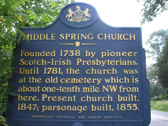 Middle Springs Pennsylvania Presbyterian Church Plaque