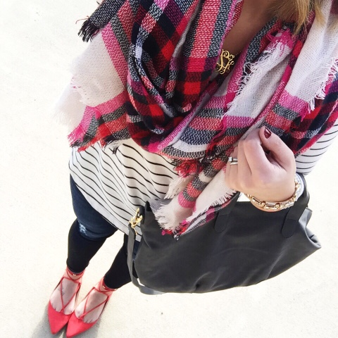 how to wear a blanket scarf, lace up flats, pattern mixing