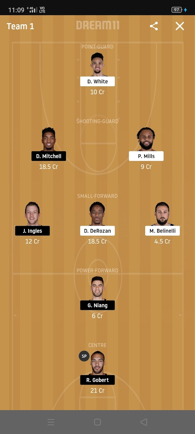 SAS VS UTA Dream11 NBA Basketball Team and Grand League Tips