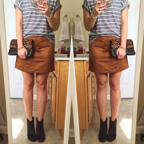 faux suede mini skirt, how to wear booties, pattern mixing