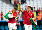 Priskin Tamás (b) és Dzsudzsák Balázs csapatkapitány, miután 1-1-es döntetlent játszottak a franciaországi labdarúgó Európa-bajnokság, Izland - Magyarország mérkőzésen, Marseille, 2016. június 18-án. (MTI Fotó: Illyés Tibor)