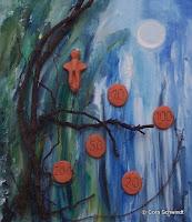 'Mutter Erde Formkraft' oder 'Geldsegen', Acryl, Ton, Wurzeln auf Leinwand, 60x70, 2006
