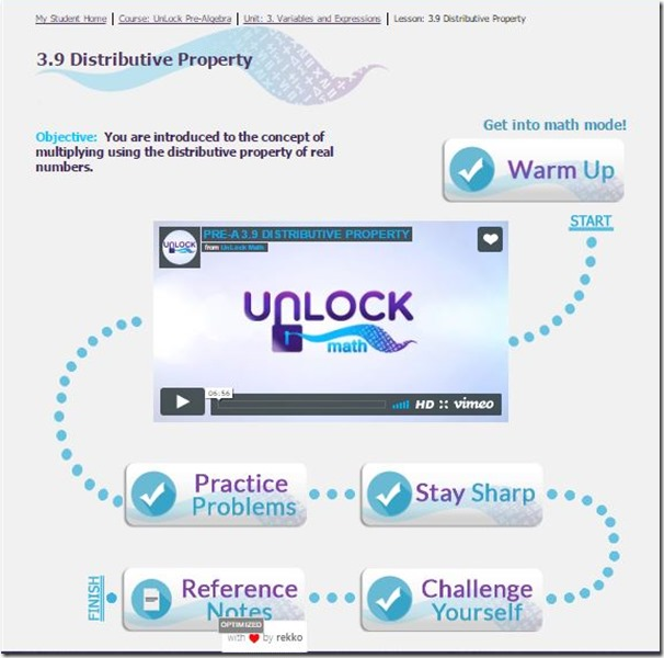 unlock math lesson page