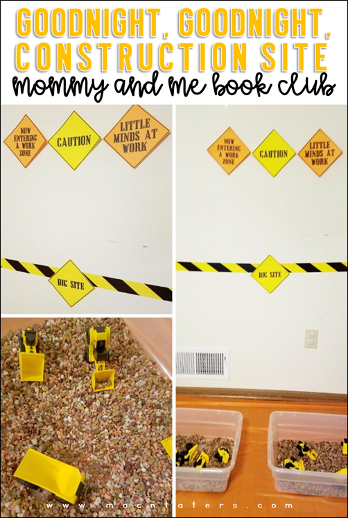 Dig Site Rock and Construction Vehicle Sensory Bin: Goodnight Goodnight Construction Site Mommy and Me Book Club