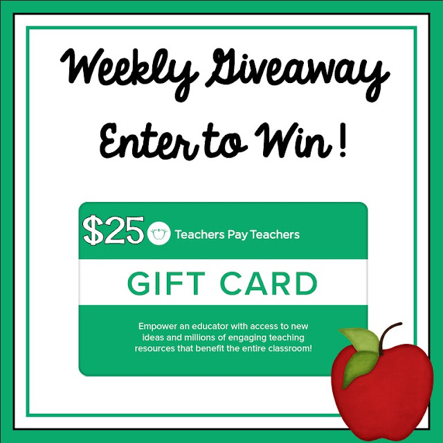 Weekly $25 Teachers pay Teachers Gift Card Giveaway October 11, 2021