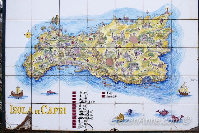 Capri adasında görülmesi gereken yerler ve yürüyüş süreleri haritası