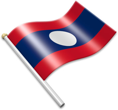 The Lao flag on a flagpole clipart image