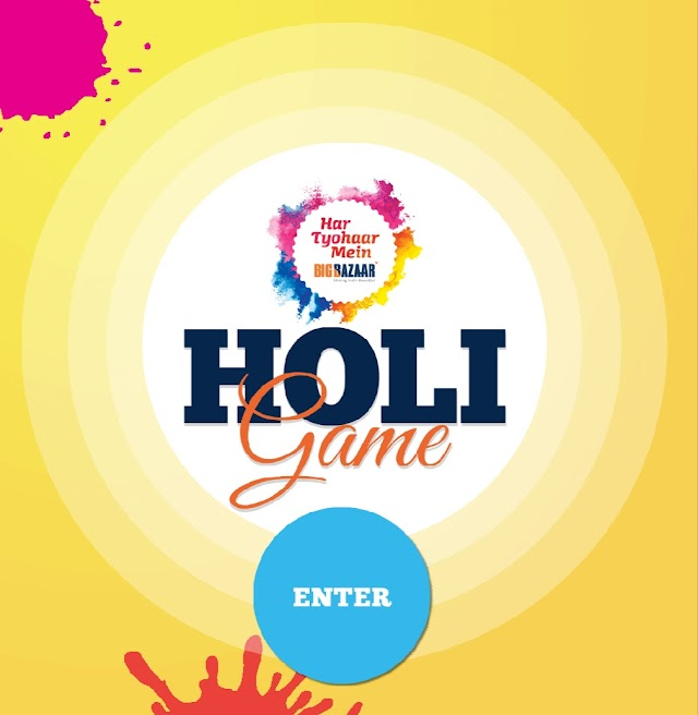 Big Bazaar - Get Rs.100 Off Coupon Code by Playing Simple Holi Game