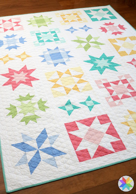 Clear Sky quilt in Kona solids - pattern available from A Bright Corner