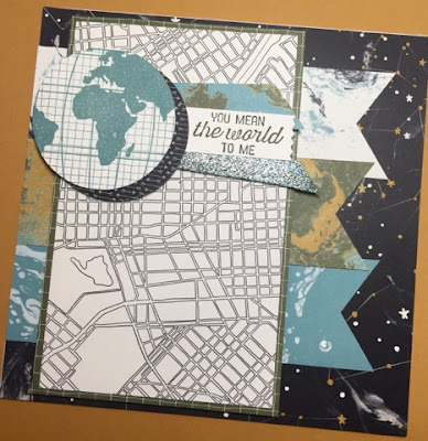 Going Global Stamp, Going Places Paper Stack and World Traveler Embossing Folder Card