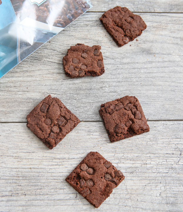 overhead photo of five Brownie Crisps