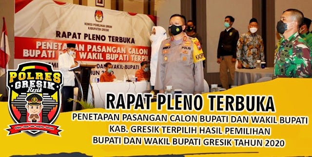 Rapat Pleno Terbuka Penetapan Pasangan Terpilih Calon Bupati dan Wakil Bupati Kabupaten Gresik
