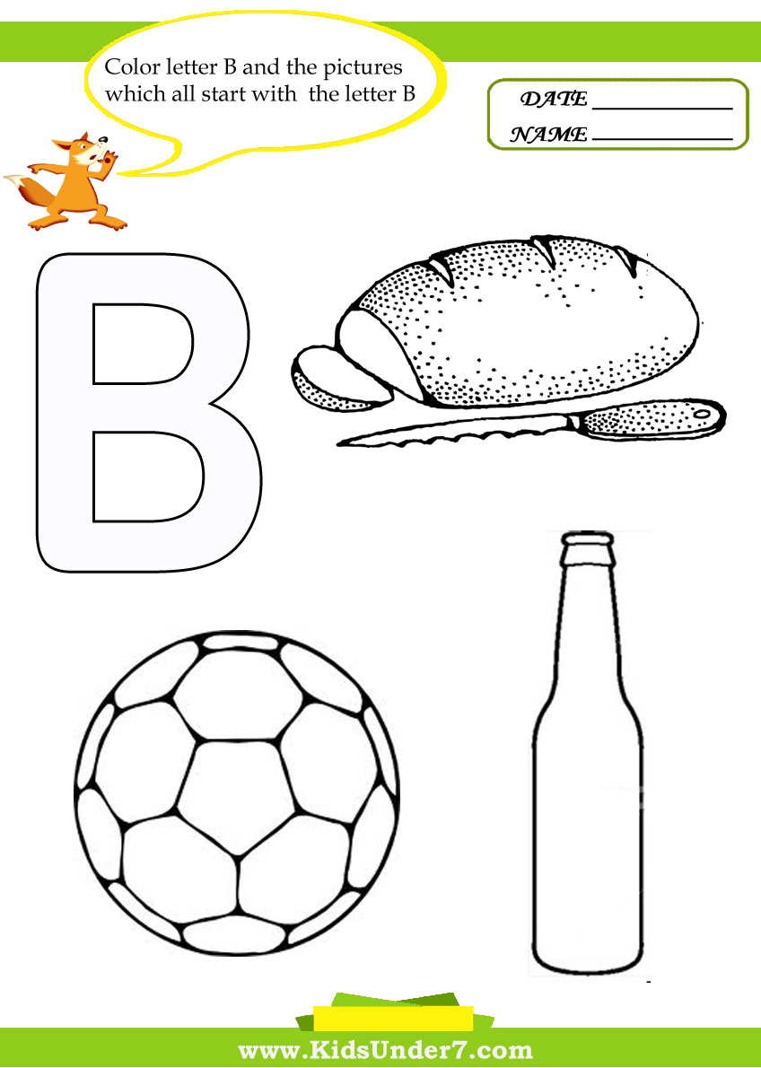 Kids Under 7: Letter B Worksheets and Coloring Pages