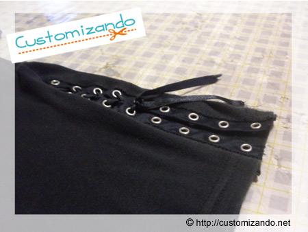Customizando blusinha com ilhós