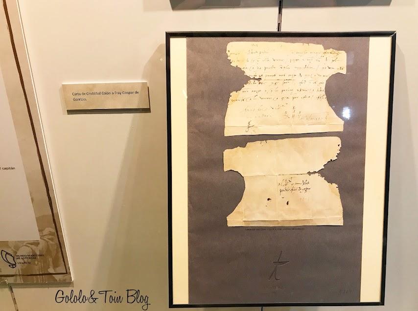Carta manuscrita de Cristóbal Colón en el museo Marítimo de Asturias