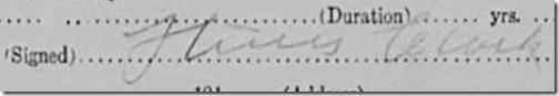 Signature of Dr. Hines Clark, Mary Belle Allie death certificate, signed about 19 January 1913