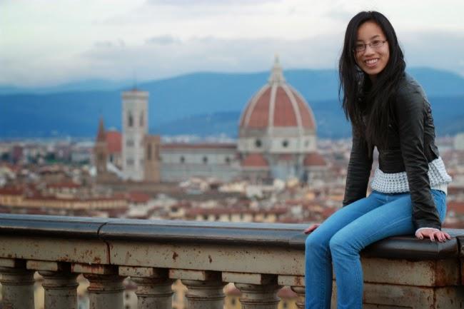 Florence church plaza panoramic view