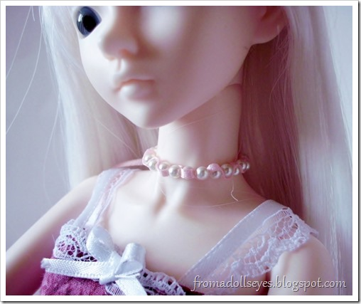 A Doll's Birthday, Or it Was: Doll Sized Jewelry: Pearl And Ribbon Necklace